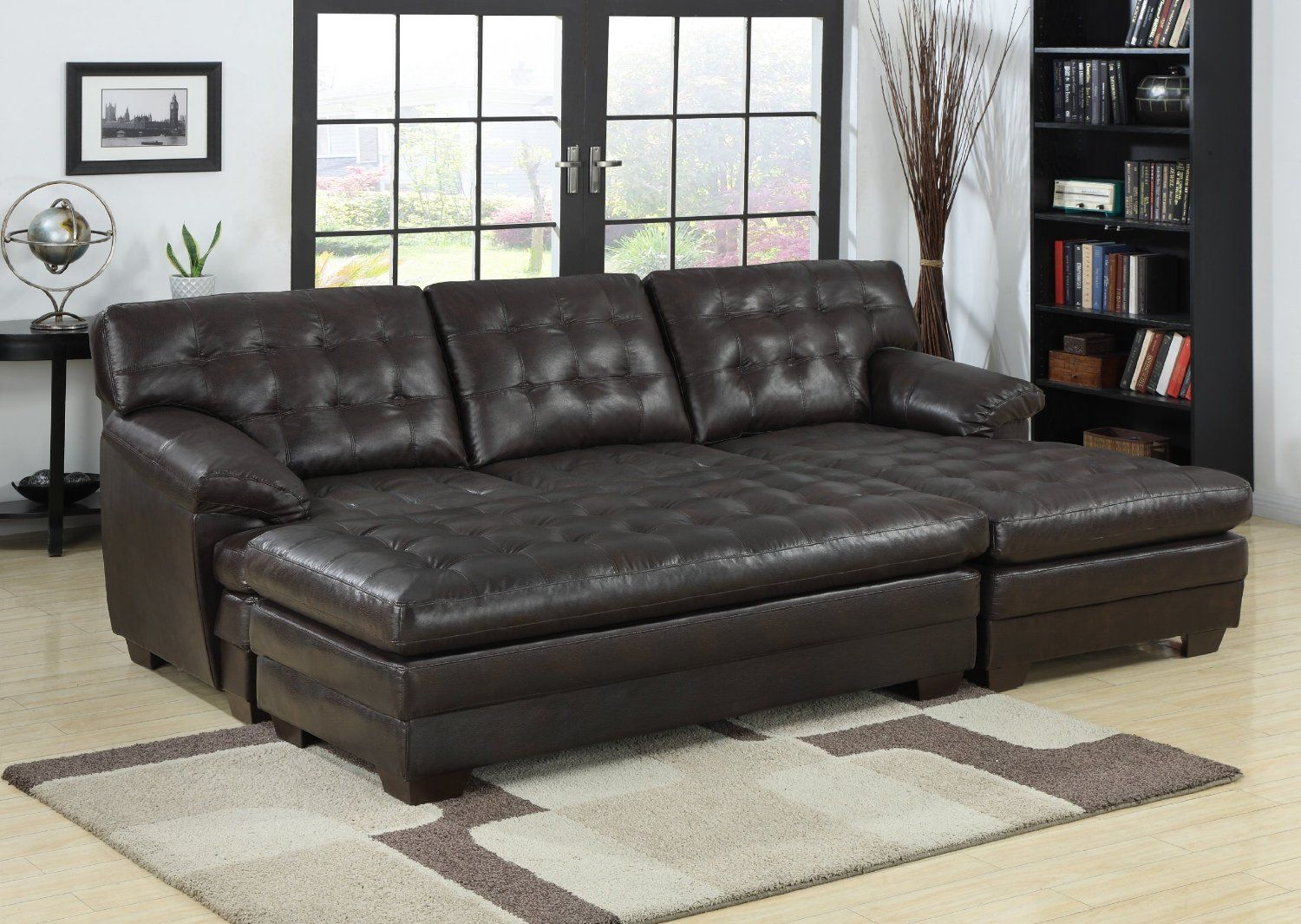 Amazon Com Homelegance 9739 Channel Tufted 2 Piece Sectional Sofa