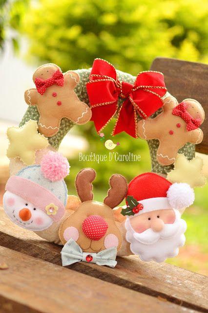 Adornos con Fieltro Navidad Navidad Pinterest Fieltro navidad
