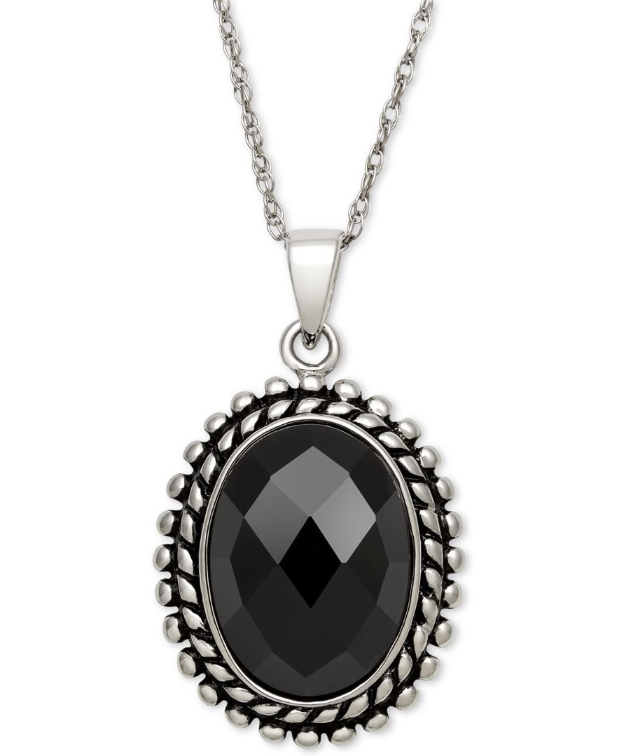 Faceted Oval Onyx Pendant Necklace (10x14mm) in Sterling Silver