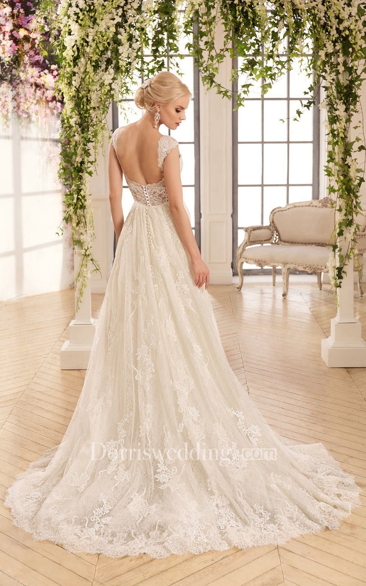 f4eeed4a428 A-Line Long Bateau Cap-Sleeve Backless Lace Dress With Appliques And Pleats
