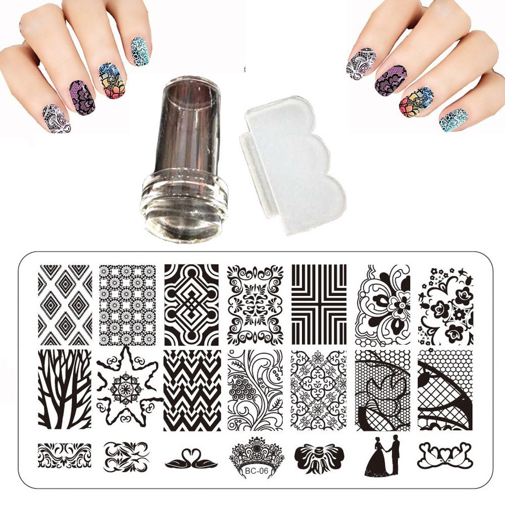 Design 12x6cm BC Nail Stamping Plates Set Print Squishy Lace ...