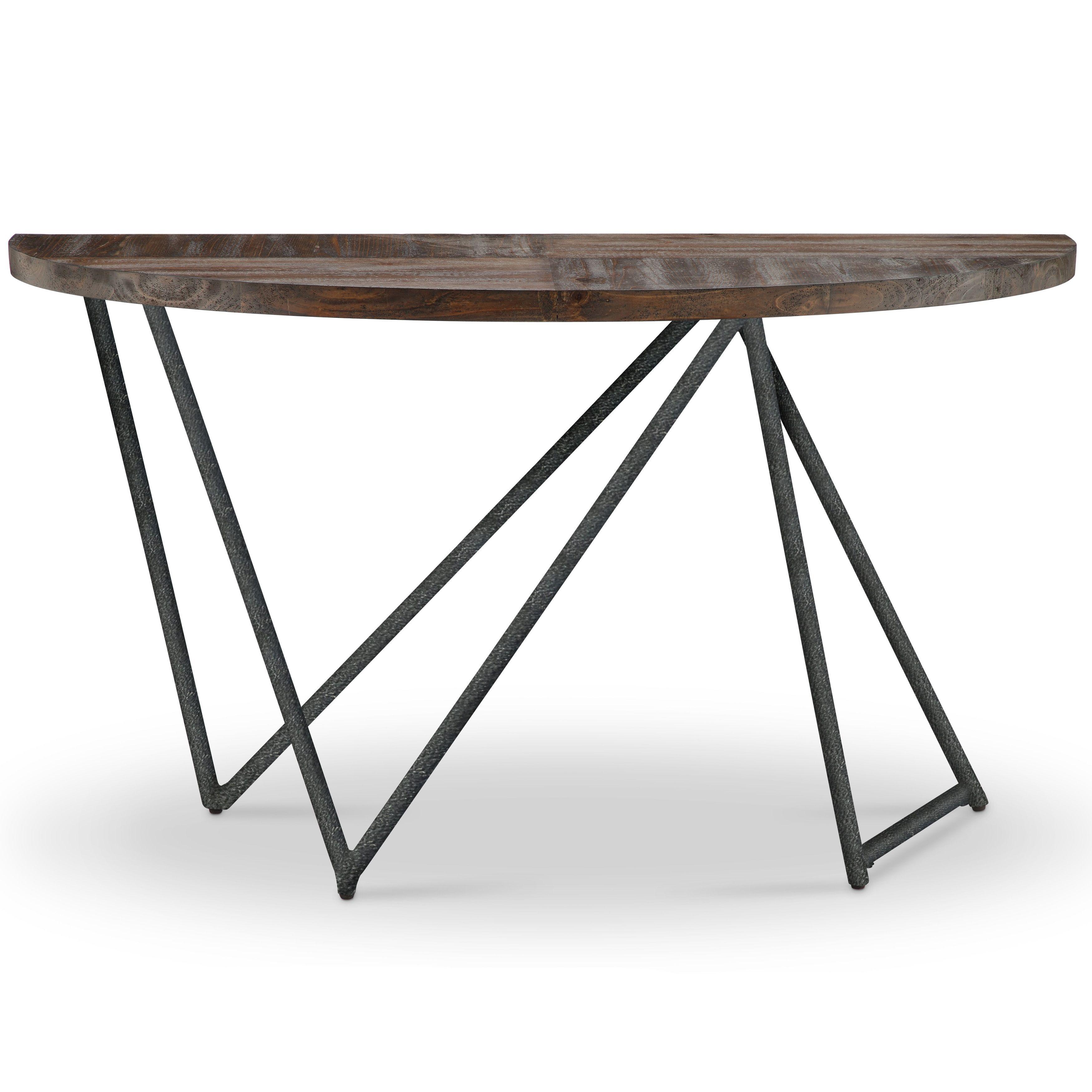 Magnussen home furnishings bixler transitional distressed nutmeg demilune console table demilune sofa table distressed nutmeg brown