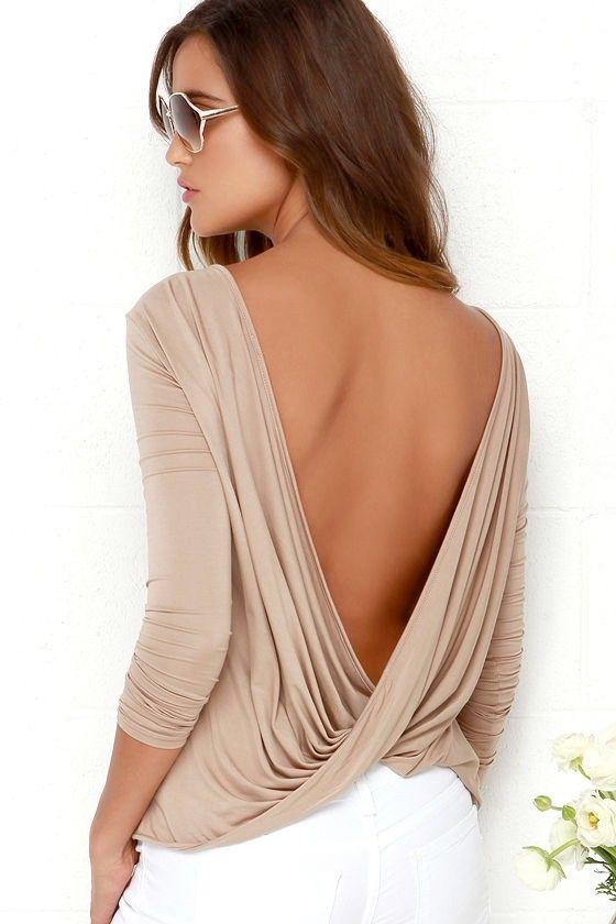 678e71b9bec202 Walk Twist Way Light Brown Long Sleeve Top