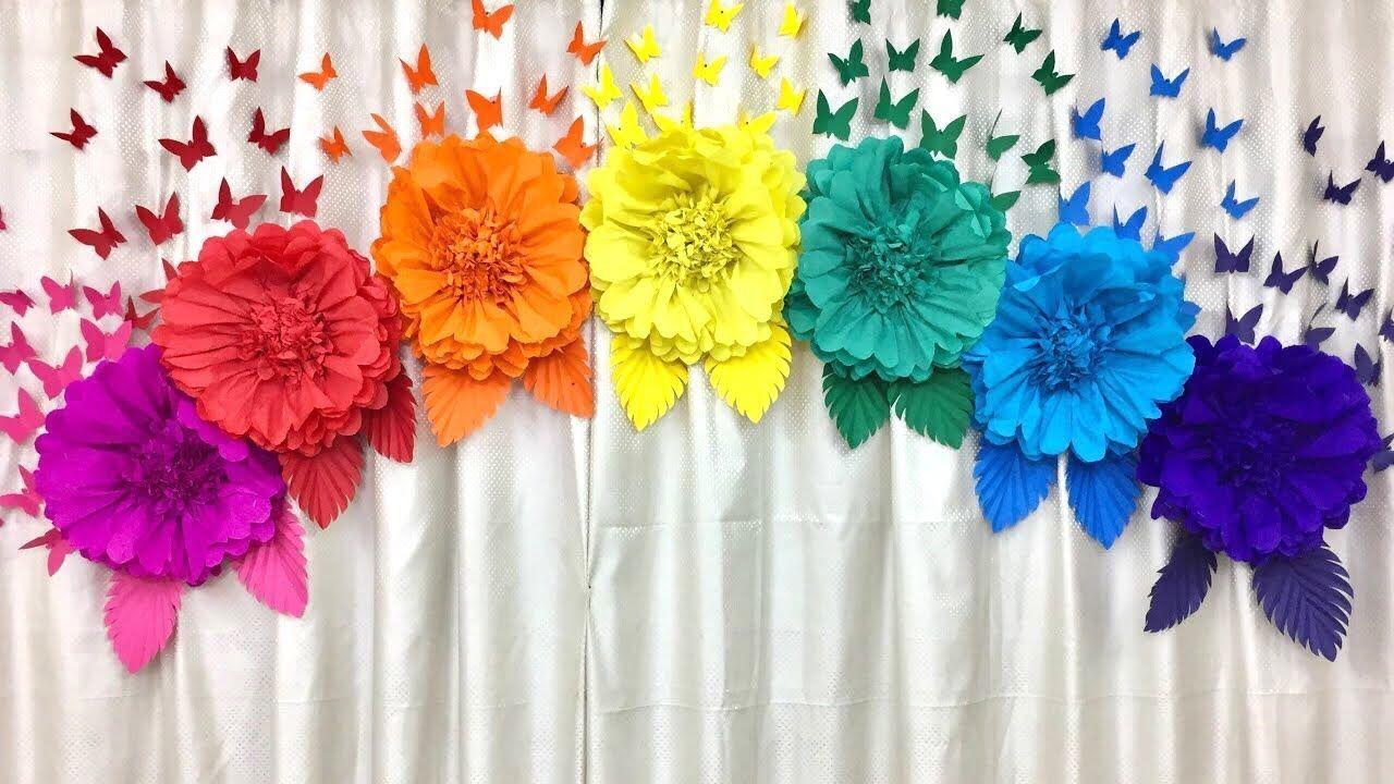 Easy paper flowers birthday decoration at homebirthday