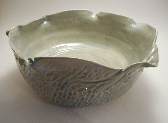 Decorative Ceramic Bowl Decorative Green Textured Ceramic Bowl Handmade Pottery Hand