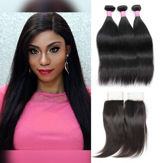 Mink Hair 10a Remy Brazilian Straight Hair Bundles With Lace Closure