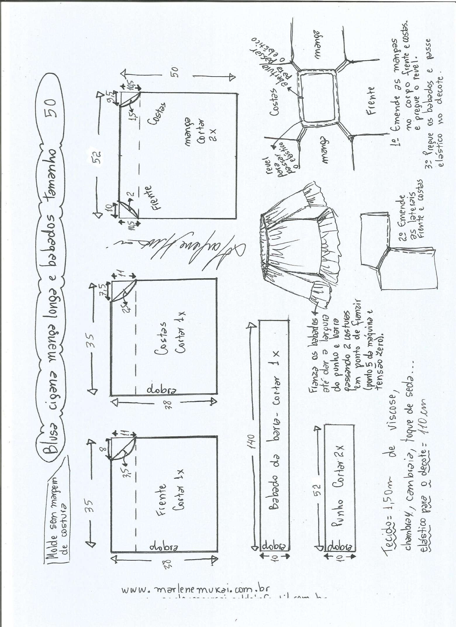 Blusa ciganinha manga longa e babado | puntos para tejidos | Pinterest