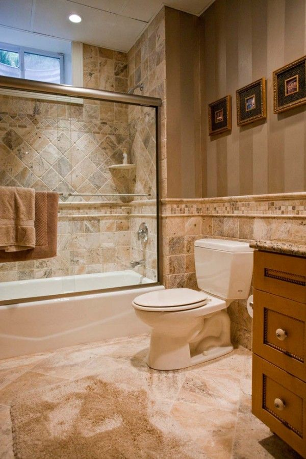 Bathroom Ealing Design Ideas With Natural Stone Tile Combine Stripes Wallpaper Featuring Gl Shower Enclosure And Aluminum Towel