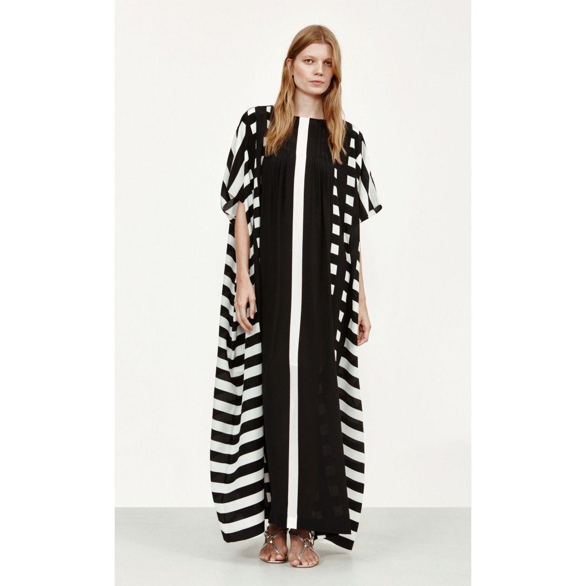 Korppi dress black white long silk dress and hemline