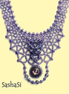 bb3edf9ea33df Tuman Necklace - beadwoven with Swarovski rivoli crystal