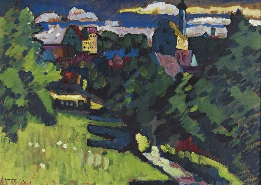 Vasilij Kandinskij - Murnau - Ansicht mit Burg, Kirche und Eisenbahn, 1909.