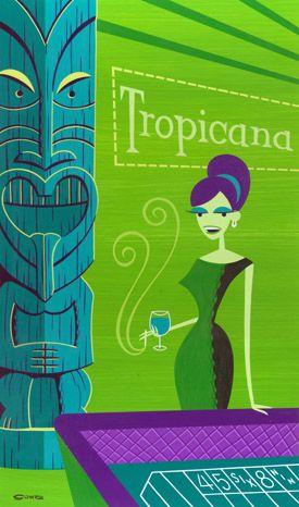 """At The Trop"" Las Vegas Tropicana Tiki art by Shag (not vintage)"