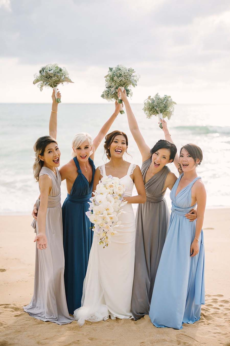 Bridesmaid dress for beach wedding  Francois and Karisu Phuket Wedding Filled With White and Blue