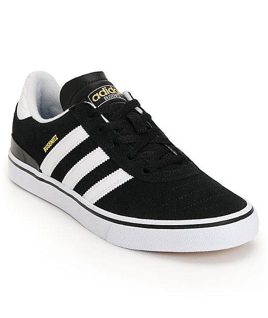 Upgrade your torn and tattered skate shoes to the durable adidas Busenitz  Vulc black and white skate shoe.