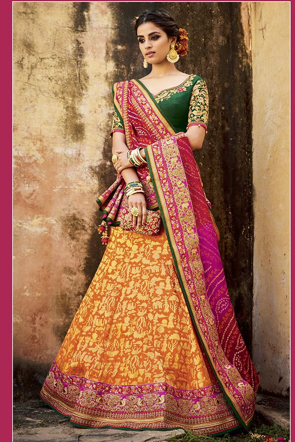 700d78c1c Green & Orange Color Pure Silk Jacquard Fabric Lehenga Choli ...
