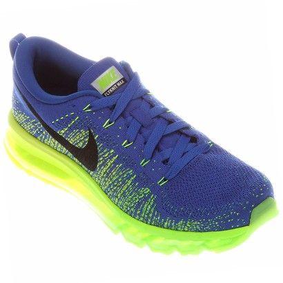 Tênis Nike Flyknit Air Max - Azul+Verde Limão  b91bc9b3ba30f