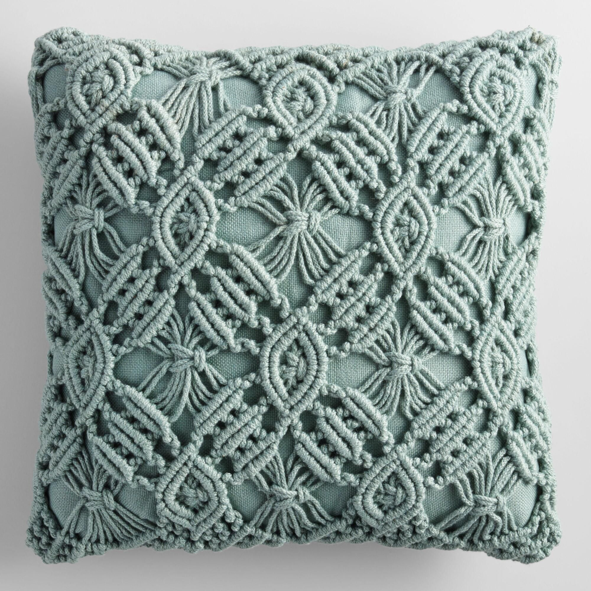 52337e5c548b Jadeite Macrame Indoor Outdoor Patio Throw Pillow  Green - Polyester ...