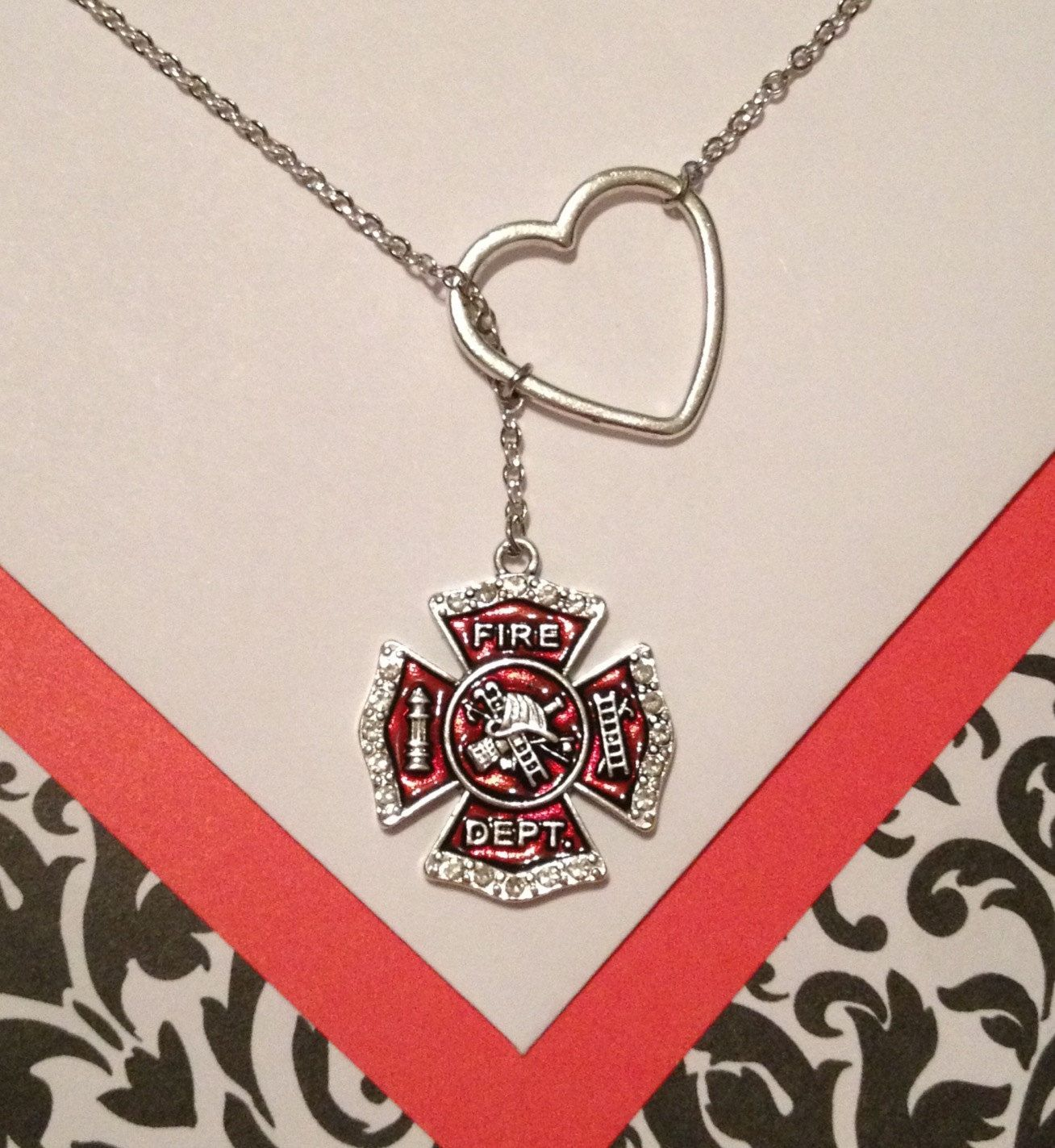 pendant cross necklace firefighter maltese mini