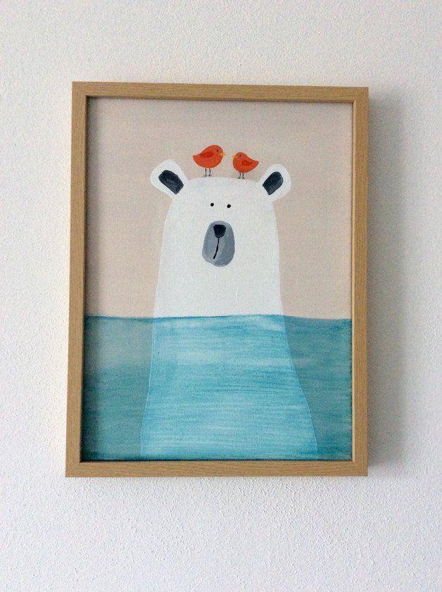 Kinderbild Eisbär Acryl auf Leinwand Kinder leinwand