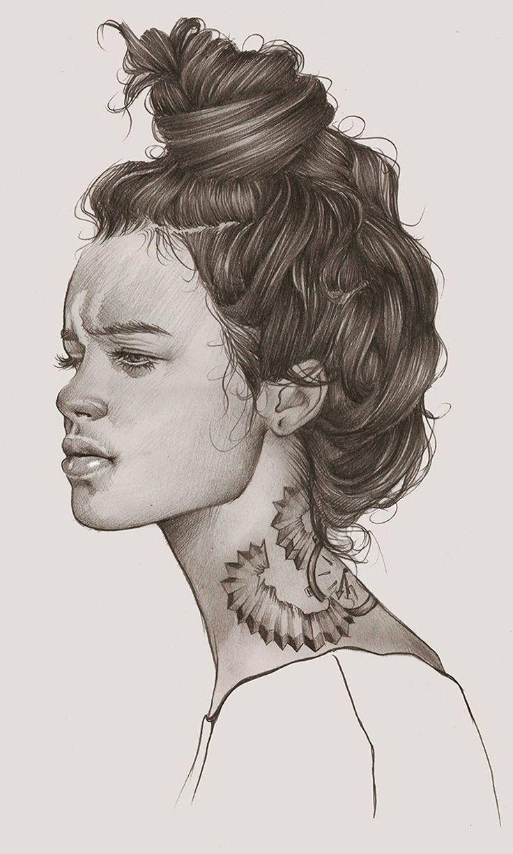 Elena Pancorbo Beautiful Female Head Monochrome Profile