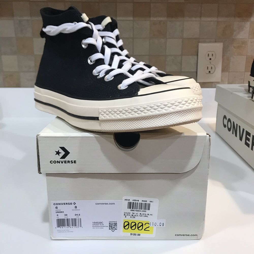 3cf6c6a048cc eBay  Sponsored Fear Of God FOG Converse Chuck Taylor 70 HI Size 6 Black  Pacsun
