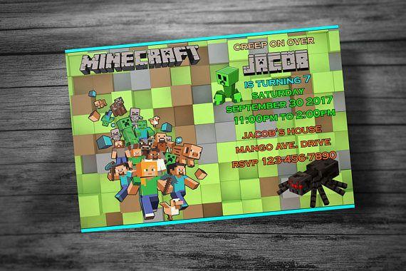 Tarjeta De La Invitación De Minecraft Invitaciones De