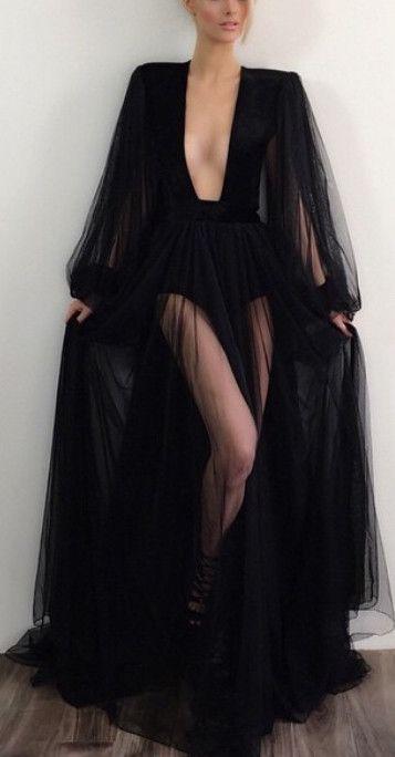 Black Low-Cut V-Neck Sheer Velvet Trim Maxi Dress  950d43c14