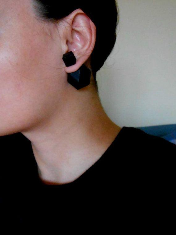 Double Sided Earrings-Fake Gauges, Double Bead Earrings, White Earrings, Contemporary Jewelry,