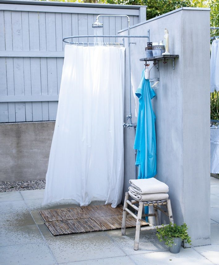Outdoor Bathroom Idea For After Going To The Lake, Working