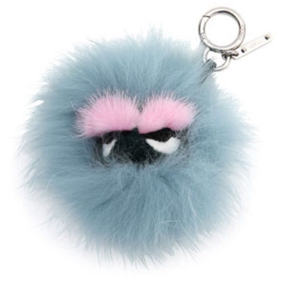 Fendi Mini Eyelash Fur Charm for Handbag Composed of dyed mink (Finland) fur, dyed fox (Finland) fur, and dyed rabbit (China) fur. Calfskin strap. Made in Italy. FENDI Accessories