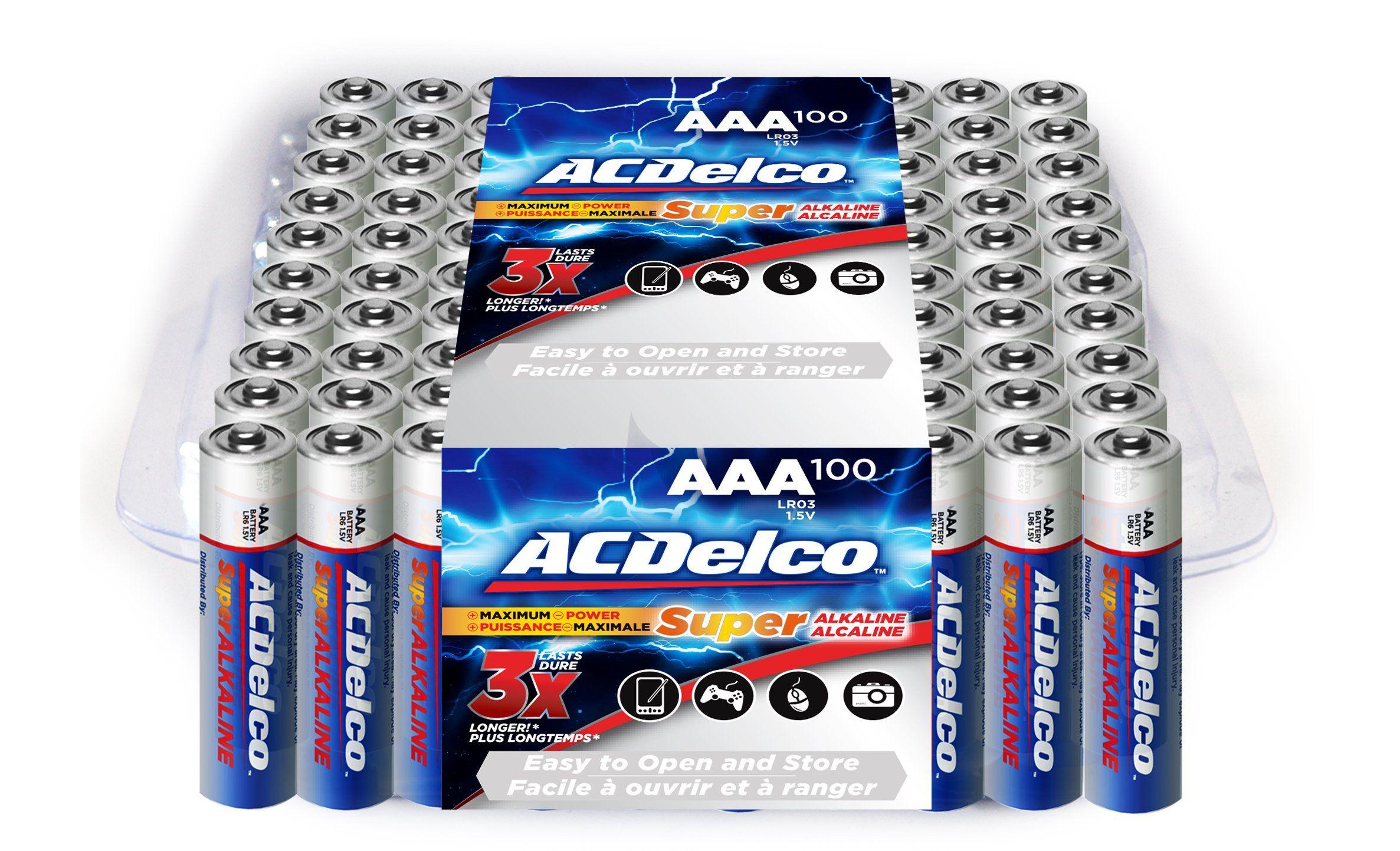 Acdelco Super Alkaline Aaa Batteries 100 Count Acdelco Alkaline Battery Aaa Batteries