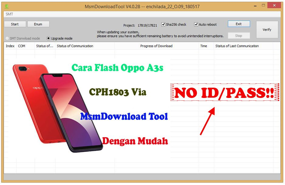 Cara Flash Oppo A3S Via MsmDownload Tools Full Crack Tanpa Password