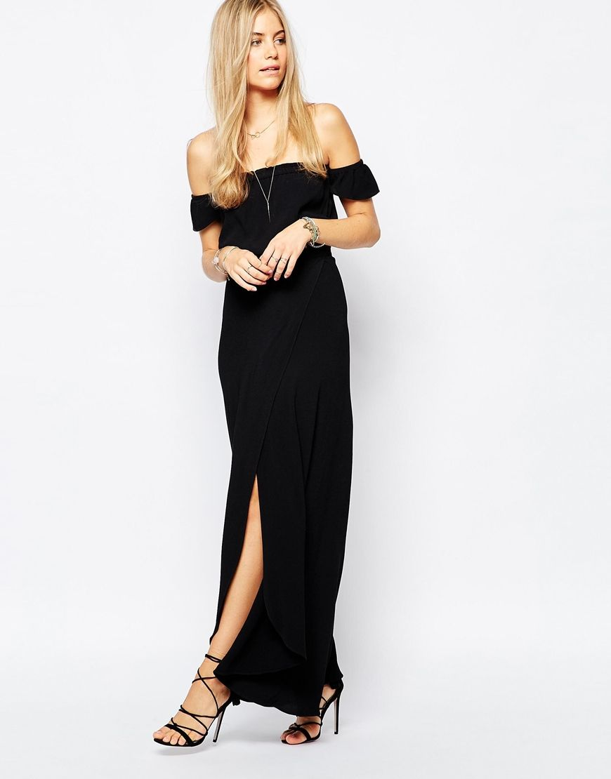 off shoulder maxi black dress | Long Black Dresses | Pinterest