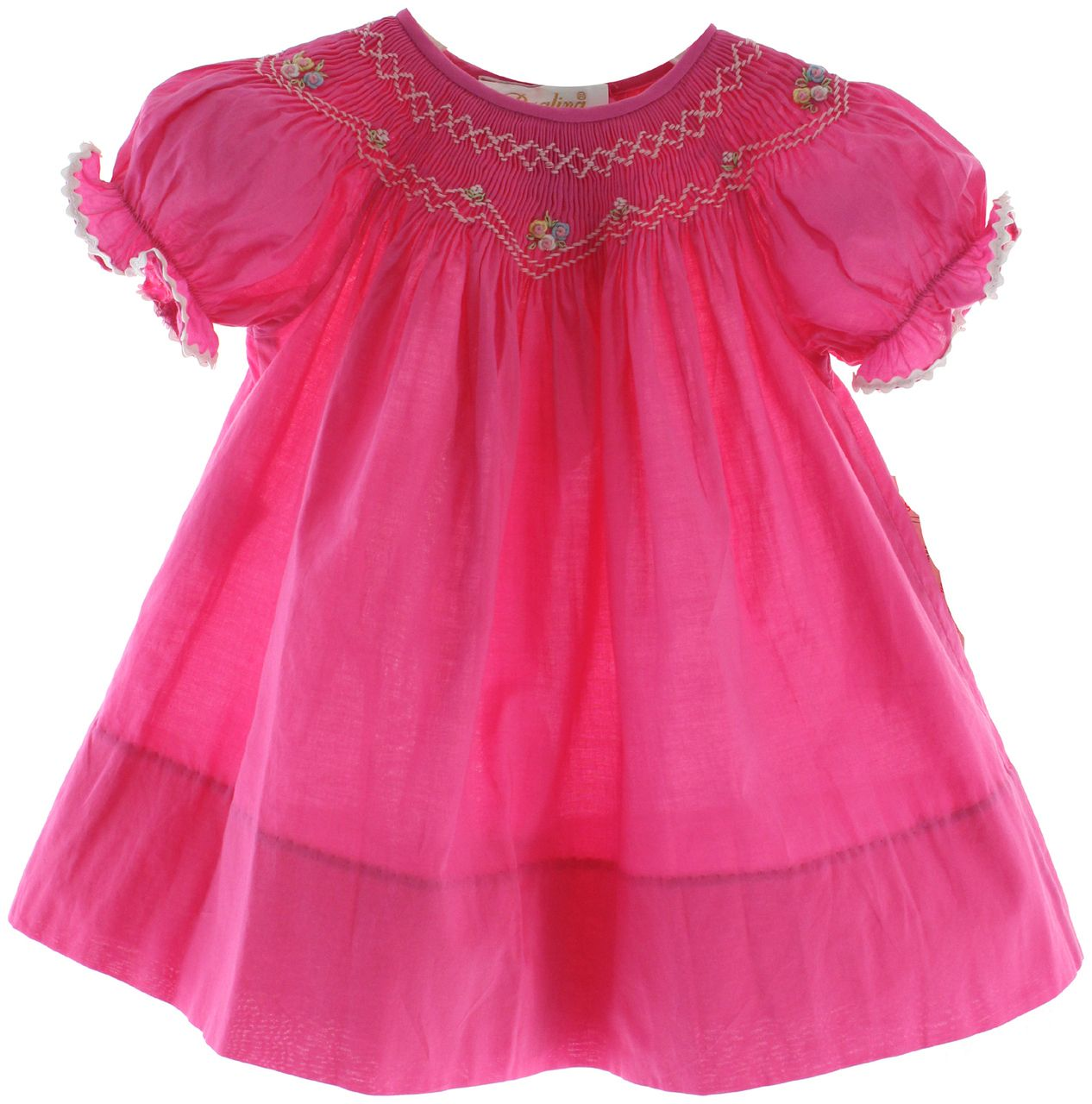 4ea6ec27493f Hiccups Childrens Boutique - Girls Hot Pink Smocked Bishop Dress Rosalina,  $42.00 (http: