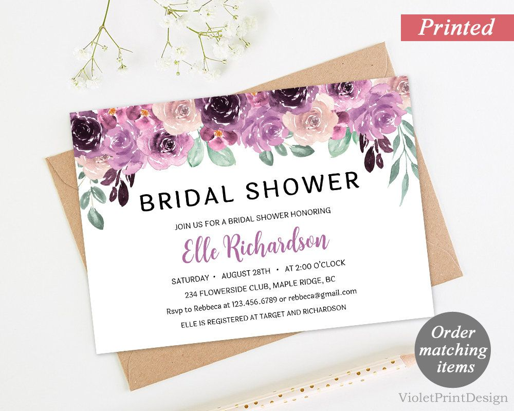 Purple Sangria Floral Bridal Shower Invitation. Printed Bridal ...
