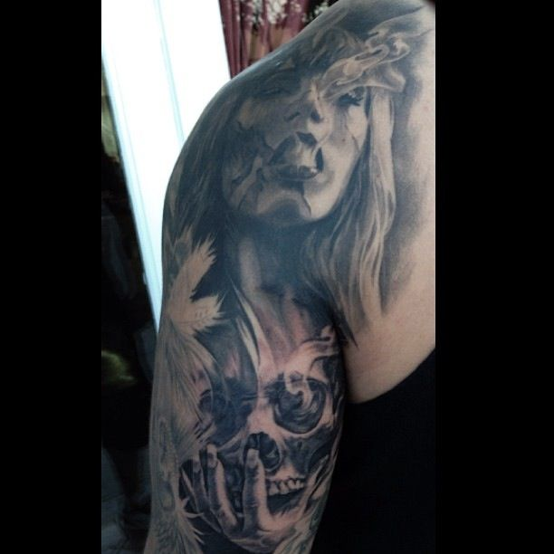 Skull back of arm tattoo by Carlos Torres.   Back of arm ...