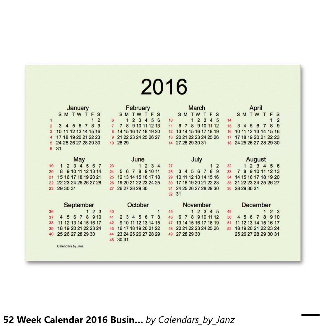 52 week calendar 2016 business cards pinterest unlimited