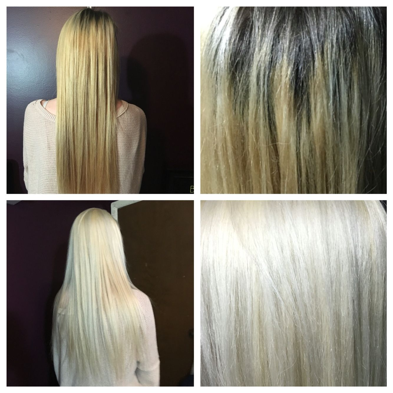 Before and after! Golden blonde with regrowth to ice blonde