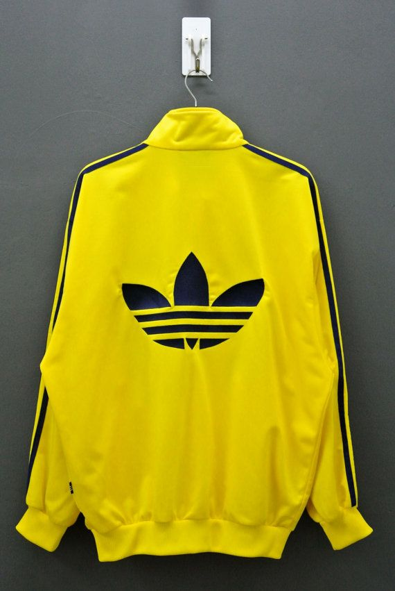 buy popular 35f23 92483 90s Vintage Adidas Yellow Track Jacket Mens Large Big by neverfull