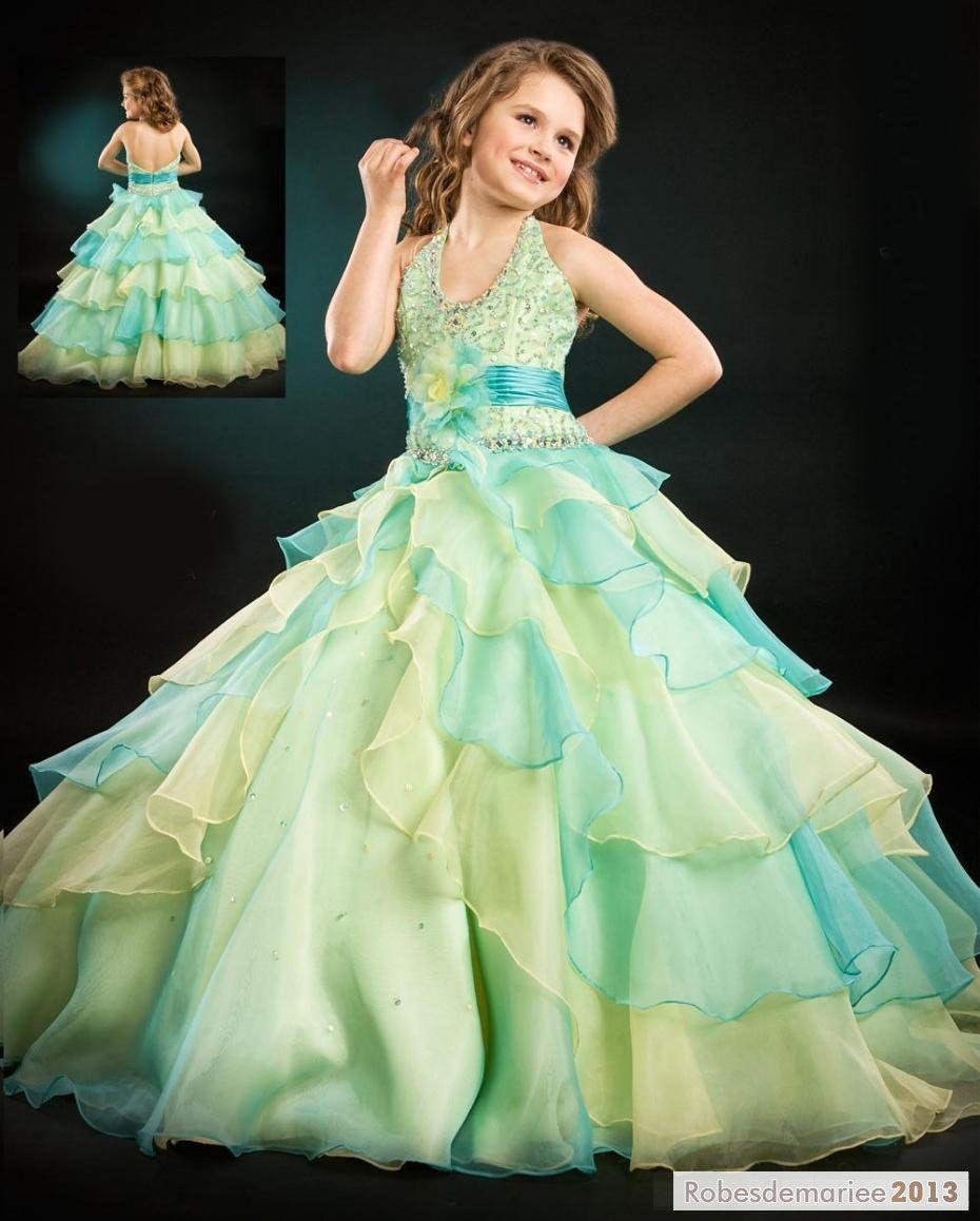 belle robe de bal robe licou tage longueur sol robe cort ge enfant robe fille pinterest. Black Bedroom Furniture Sets. Home Design Ideas