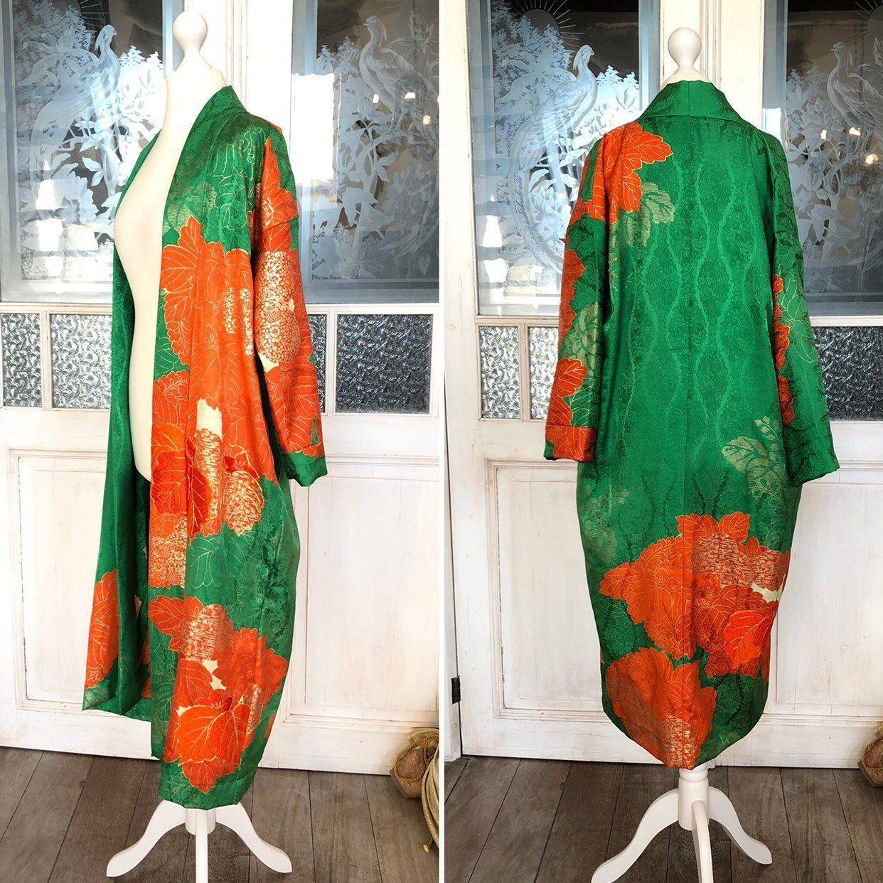 Fabulous Kimono coat in black with gorgeous Japanese traditional pattern  Handmade kimono coat in silk  one of a kind gorgeous kimono