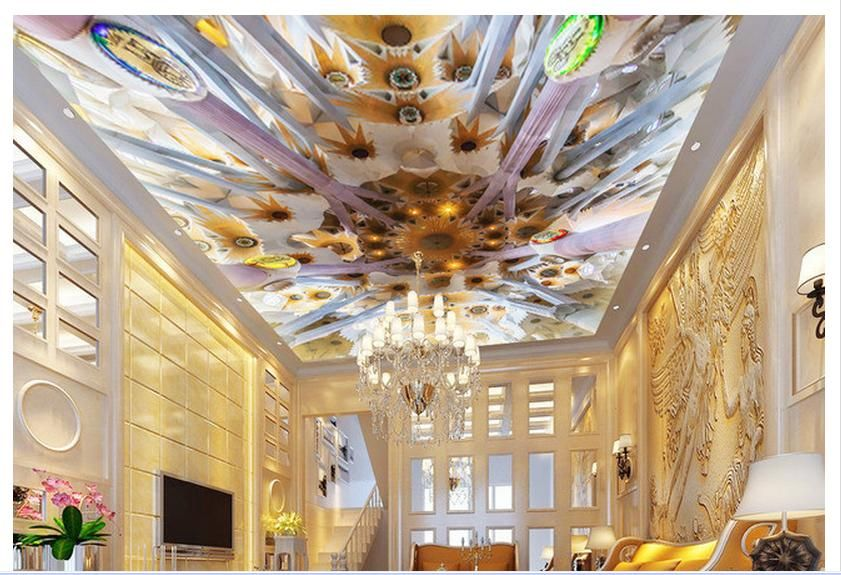 Photo Wallpaper Ceiling Murals 3 D Solid Background Wall Mural Hung Ceilings Paper Room Decoration