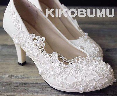 Vintage Lace Wedding Pump Party Bridal Bridesmaid Flat High Low Heels shoes 5-12