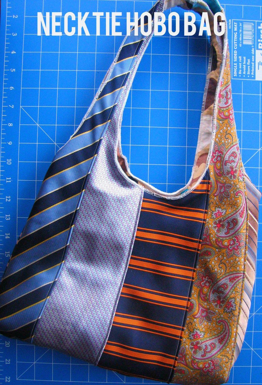 Sew & Serge a Neck Tie Hobo Bag - Free Tutorial   Taschen nähen, Aus ...