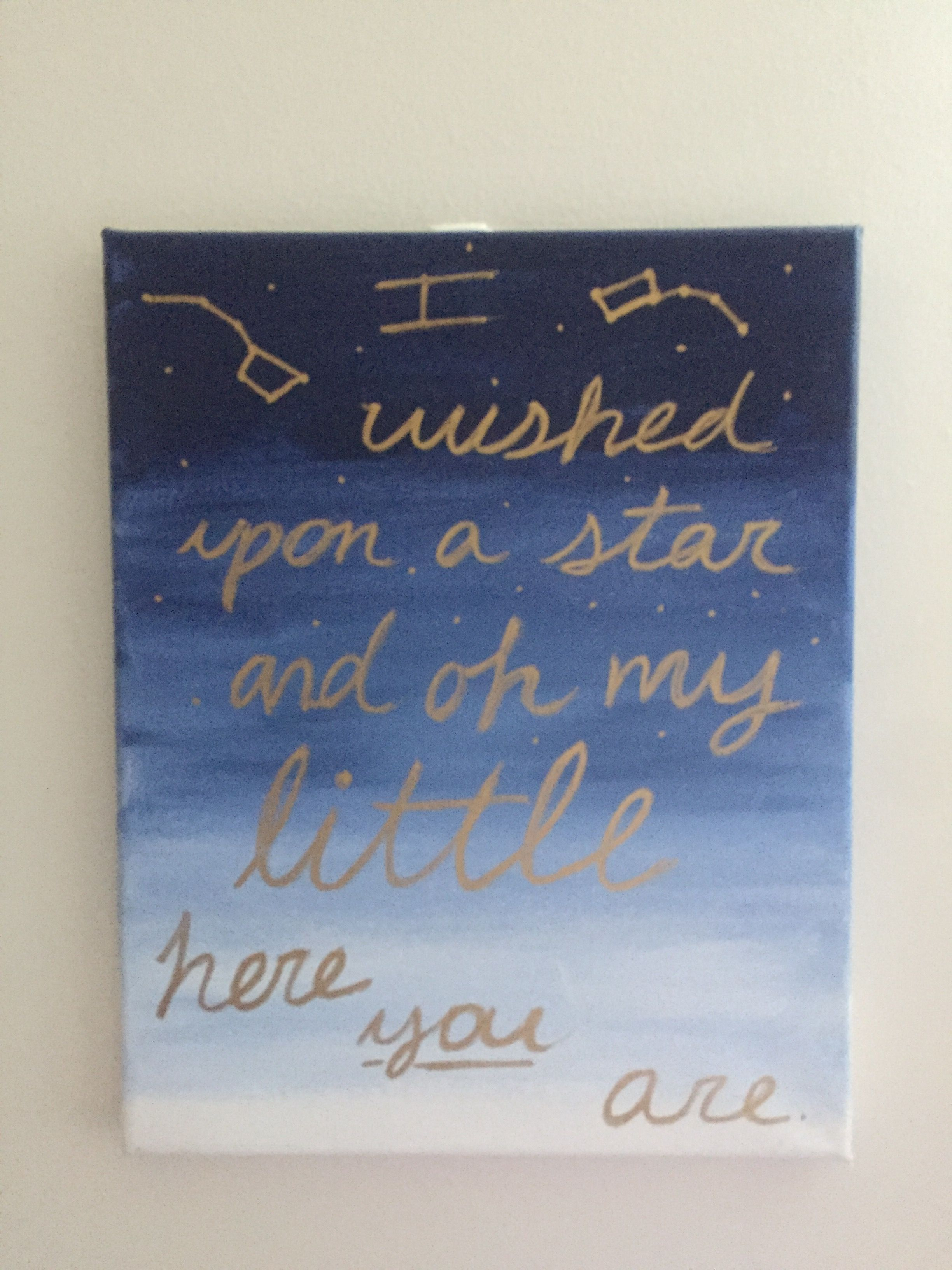 "Big Little Sorority Canvas with quote ""I wished upon a Star ..."