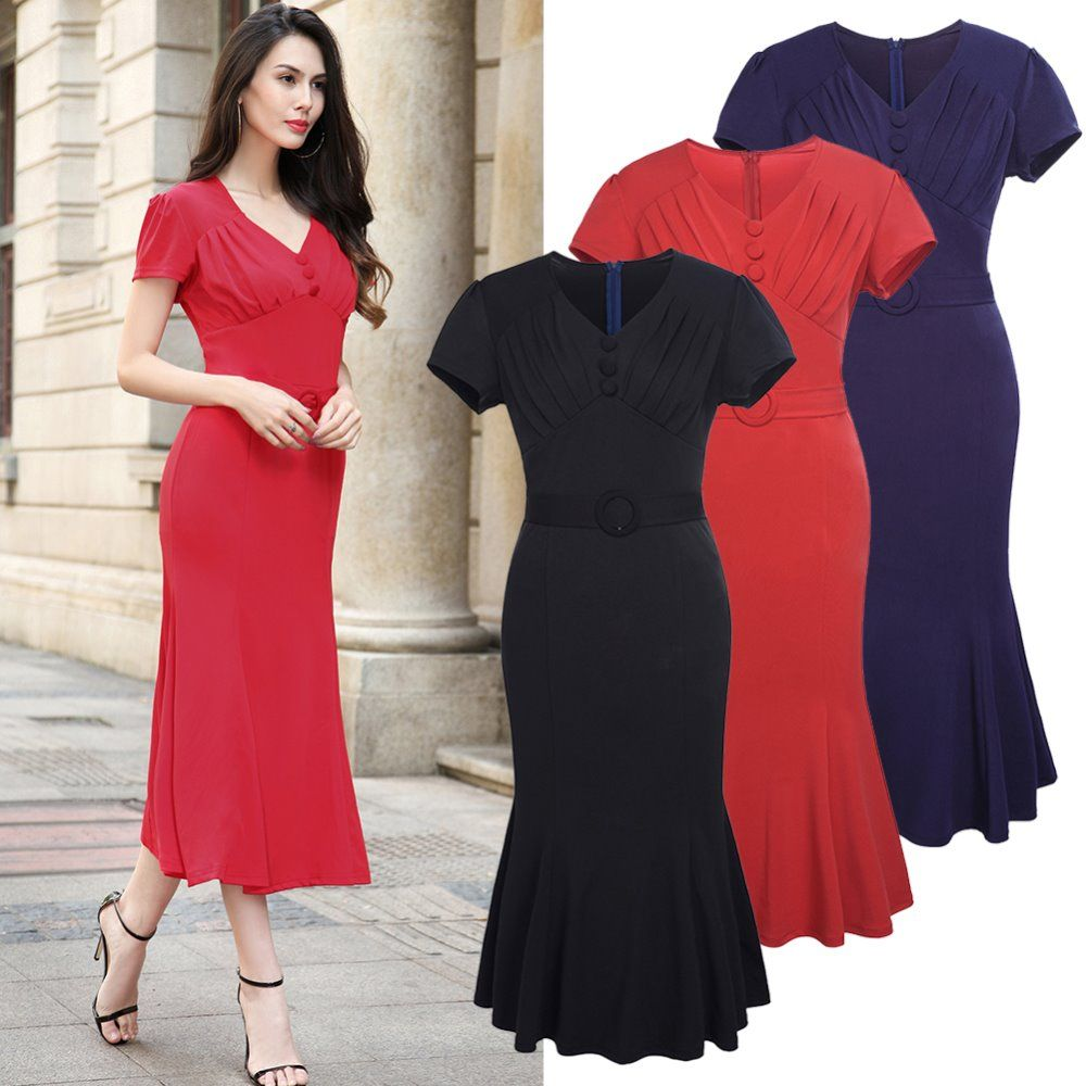 Women summer elegant sexy evening party dress short sleeve bodycon v