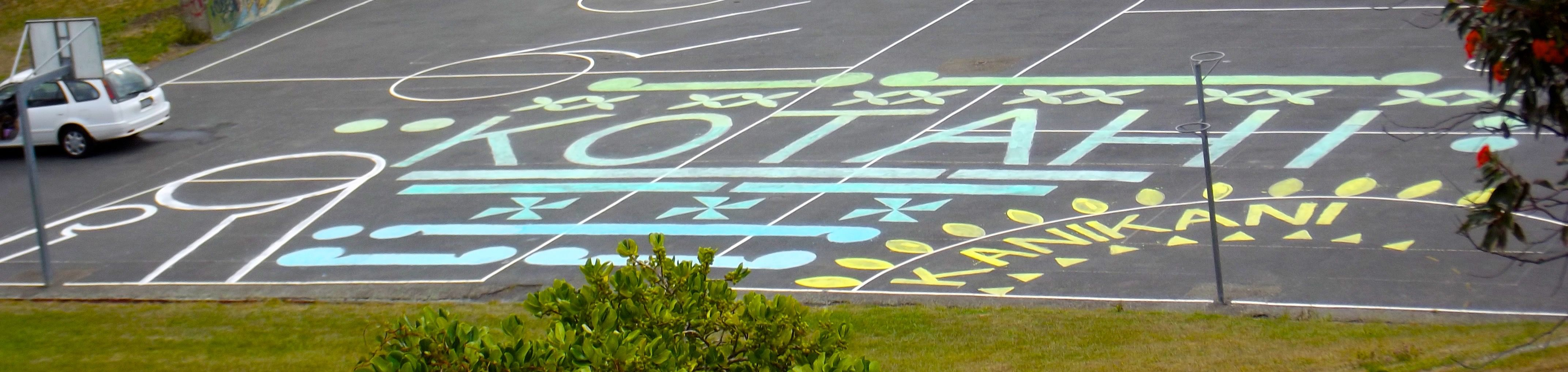 Temporary design on school courts for Waitangi Day celebration Feburary 2015