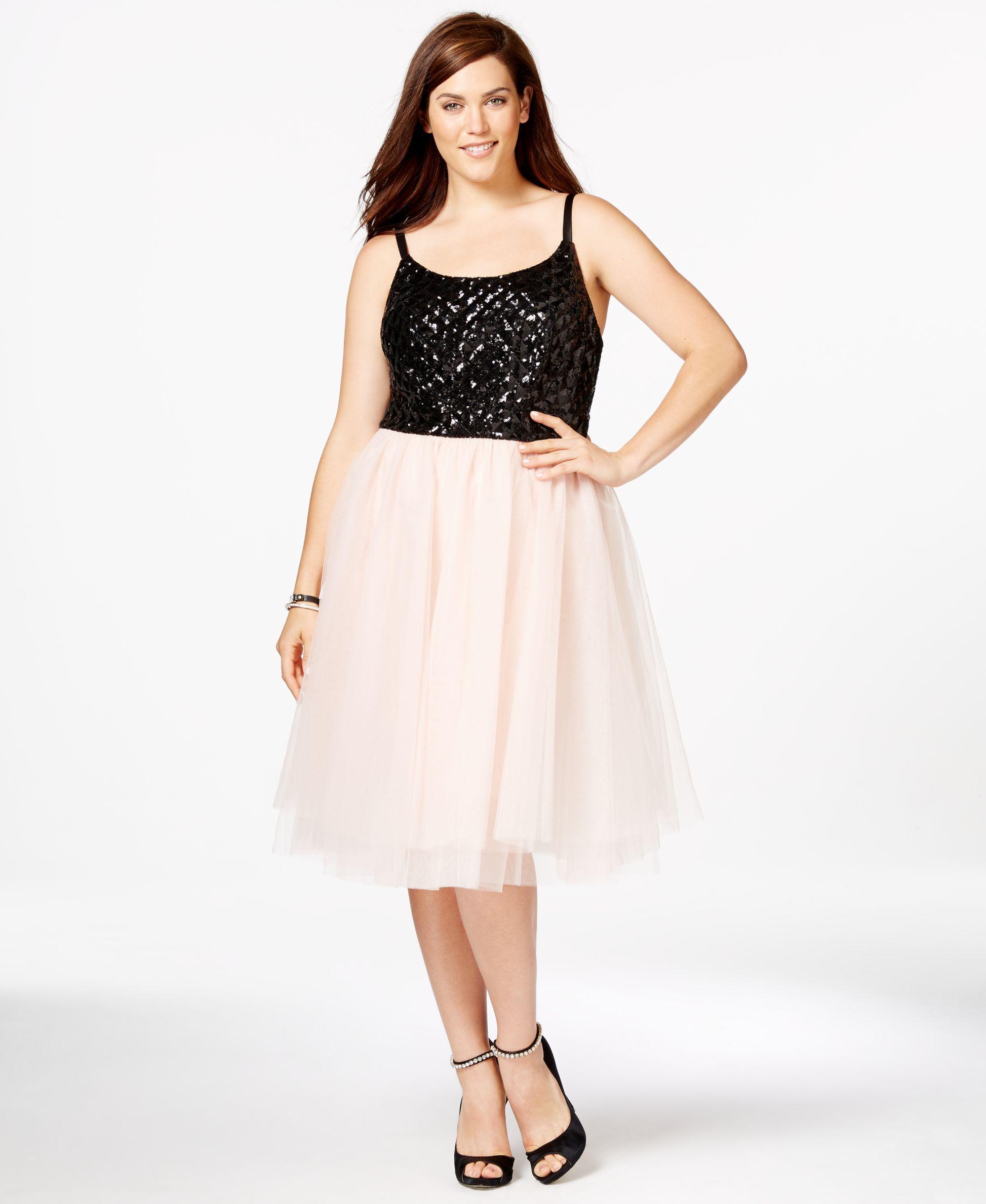 dcb7b6a879d Trixxi Plus Size Sequined Tulle-Skirt Party Dress - Trendy Plus Sizes -  Plus Sizes - Macy s