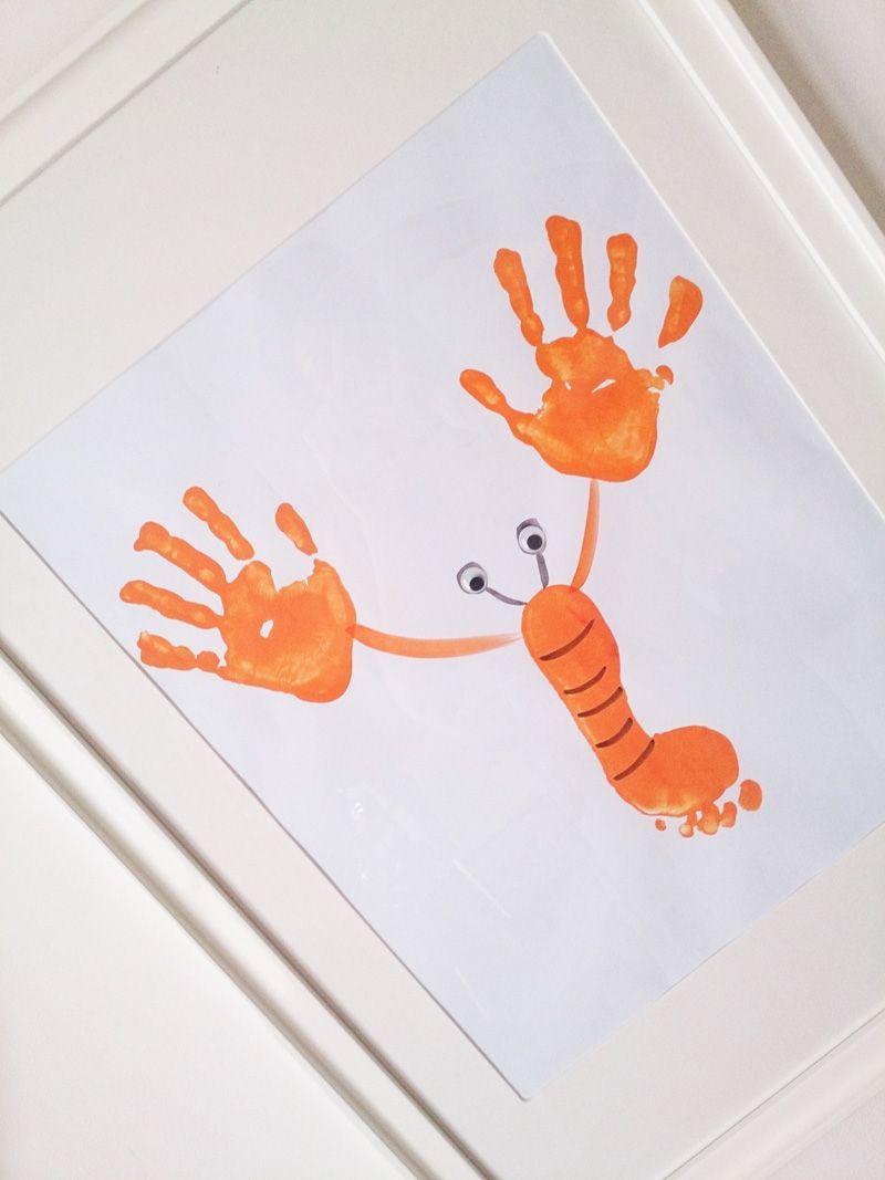 Lámina cangrejo pintada con pies y manos   Cangrejo, Pintar y Entrar