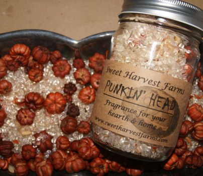 Punkin' Head This blend of beads, polished bits of glass, authentic vintage buttons and Putka Pods (tiny dried pumpkins) combines the scent of Pumpkin Pie, Cinnamon,Nutmeg and Crème Brulee! Just plain yummy!! Close your eyes and you would think Grandma was in the kitchen backing her award winning Pumpkin Pie! Customers love to leave this out year round! (Available Oct – Dec) 1.5 lb Jar $18.00